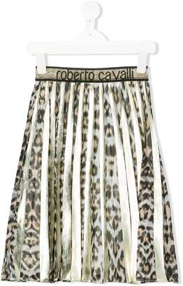 Roberto Cavalli leopard print pleated skirt