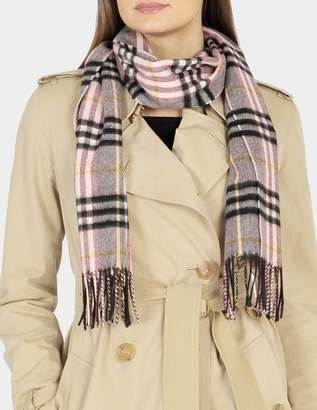 Burberry 168X30 Classic Check Cashmere Scarf in Ash Rose Cashmere