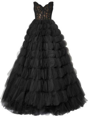 Oscar de la Renta - Strapless Corded Lace And Tulle Gown - Black