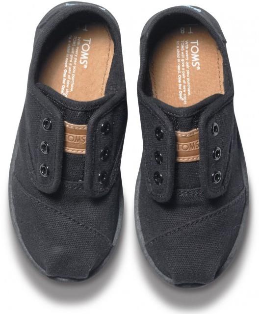 Toms Solid black canvas tiny cordones