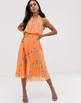 Asos Design DESIGN pleated midi dress with double layer bodice and v neck in orange floral print