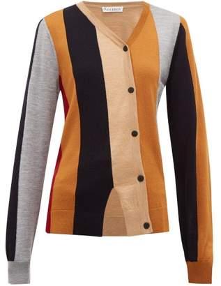 J.W.Anderson Asymmetric Striped Wool Cardigan - Womens - Brown Multi