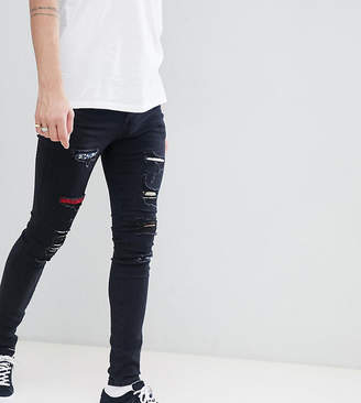 Asos Sixth June super skinny jeans in black with distressing exclusive to