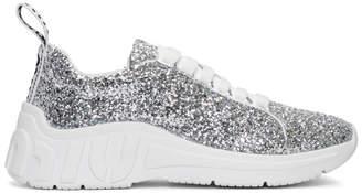 Miu Miu Silver Glitter Chunky Sneakers