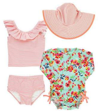 RuffleButts Painted Flowers & Striped 4-Piece Swim Layette Set, Size 3-24 Months