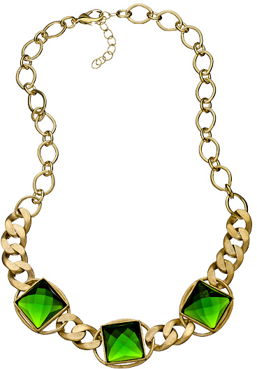 Gala by Daniela Swaebe Dark Green Chunky Curb Chain Necklace