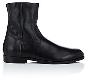 Buttero Men's Leather Side-Zip Boots-Black