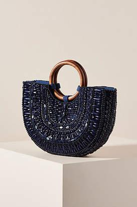 Anthropologie Beaded Basket Tote Bag