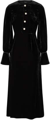 Mother of Pearl Jenna Black Velvet Midi Dress