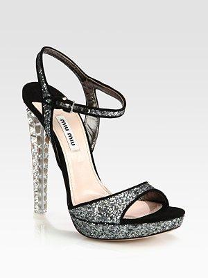 Miu Miu Glitter and Suede Sandals