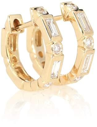 Sydney Evan 14kt gold and diamond hoop earrings