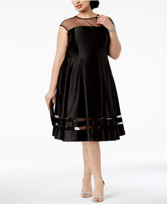 Betsy & Adam Plus Size Illusion Fit & Flare Dress