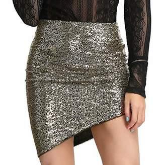 Liumilac Womens Ruched Asymmetrical Hem Bodycon Sequin Club Pencil Mini Skirt (
