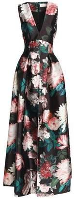 Sachin + Babi Pleated Floral-Print Duchesse Satin-Twill Gown