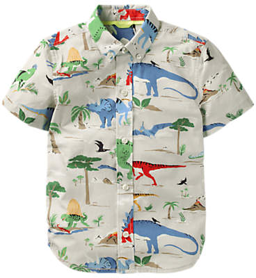 Mini Boden Boys' Fun Dinosaur Short Sleeve Shirt, Grey