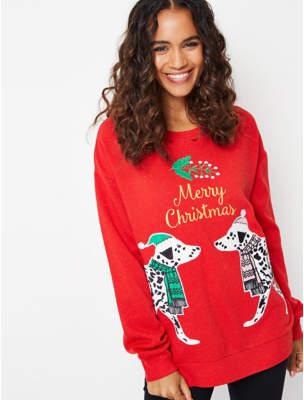 George Red Dalmatian Adult Christmas Sweatshirt