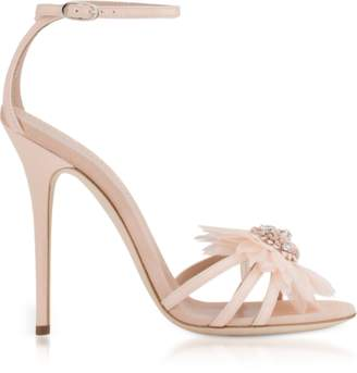 Giuseppe Zanotti Annemarie Pink Patent Leather High Heel Sandals w/Flower