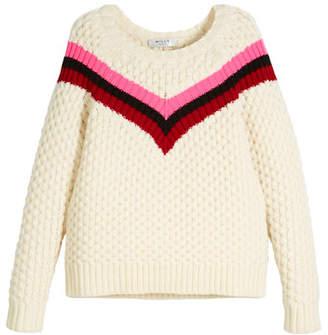 Milly Minis Chevron Stripe Merino Wool Sweater, Size 8-14