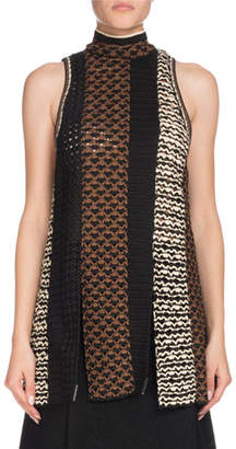 Proenza Schouler Sleeveless Tie-Neck Multicolor Crochet Tunic