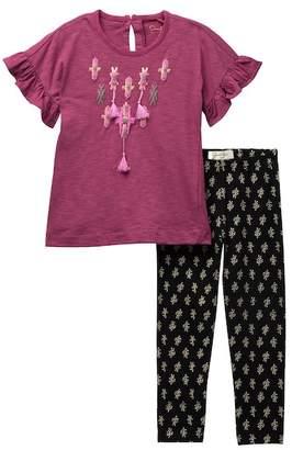 Jessica Simpson Tassel Print Top & Legging Set (Toddler Girls)
