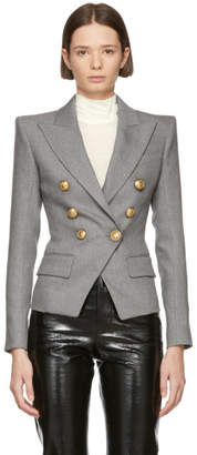 Balmain Grey Wool Six-Button Blazer