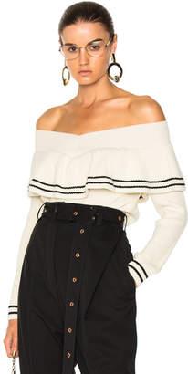 Self-Portrait Striped Off Shoulder Sweater