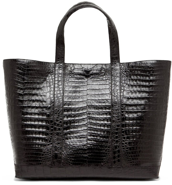 Nancy Gonzalez Crocodile Large Tote in Black