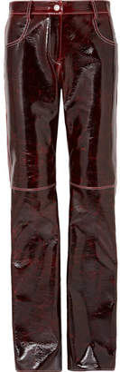 MSGM Coated Wool-blend Straight-leg Pants - Burgundy