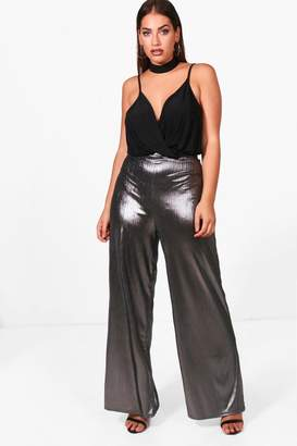 boohoo Plus Metallic Wide Leg Trouser