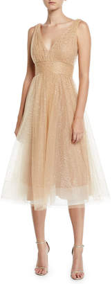 Marchesa Glitter Tulle Fit-&-Flare Dress