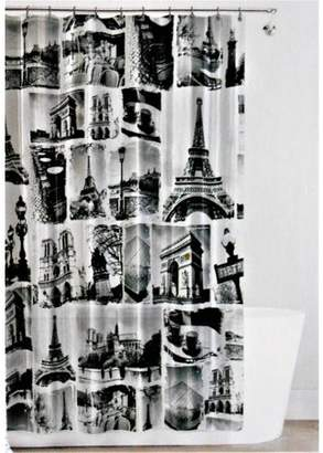 """Splash Home Paris PEVA Shower Curtain, 72"""" x 70"""", Black"""