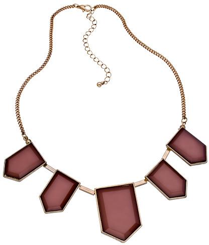 Blu Bijoux Gold with Rust Hexagons Bib Necklace