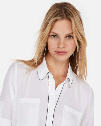 Express Slim Fit Beaded Portofino Shirt
