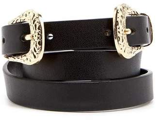Forever 21 Faux Leather Double-Buckle Hip Belt