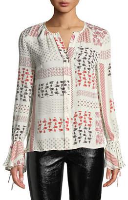 Derek Lam 10 Crosby Collarless Bell-Sleeve Printed Silk Blouse