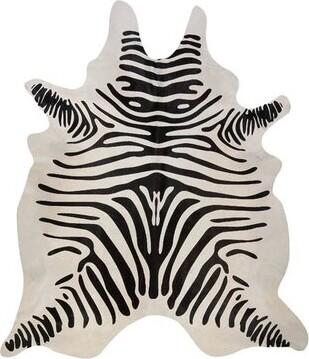 Pergamino Stenciled Brazilian Cowhide Zebra Black/Off-White Area Rug Pergamino