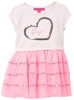 Betsey Johnson Sequin Heart Speckle Top & Mesh Bottom Dress (Toddler Girls)