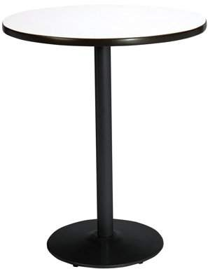 """KFI Seating KFI 30"""" Round Pedestal Table with Mahogany Top, Round Black Base, Bistro Height"""