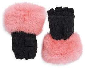 Surell Girl's Rabbit Fur Trim Mittens