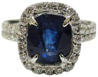 18K White Gold Royal Blue Ceylon Sapphire Diamond Engagement Ring