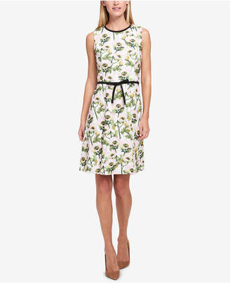 Tommy Hilfiger Floral Print Bow-Belt Fit & Flare Dress