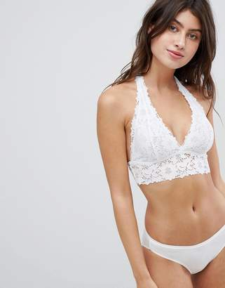 New Look Cotton And Lace Halterneck Bralette