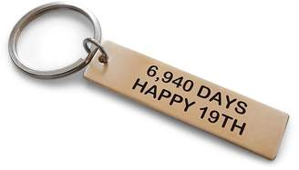 "JewelryEveryday Bronze Tag Keychain Engraved ""6,940 Days, Happy 19th""-19 Year Anniversary"