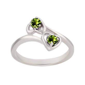 FINE JEWELRY Genuine Peridot Sterling Silver Two Heart Ring