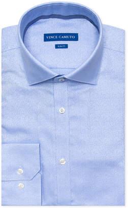 Vince Camuto Men's Slim-Fit Comfort Stretch Winter Blue Jacquard Dress Shirt