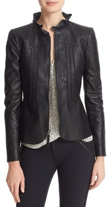Women's Rebecca Taylor Ruffled Leather Jacket $995 thestylecure.com