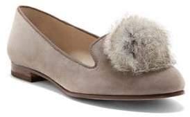 1c8344270b2 Louise et Cie Andres Rabbit Fur Puff Suede Flats