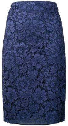 Valentino floral lace pencil skirt
