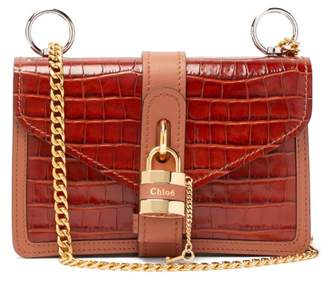 Chloé Aby Crocodile Embossed Leather Shoulder Bag - Womens - Brown
