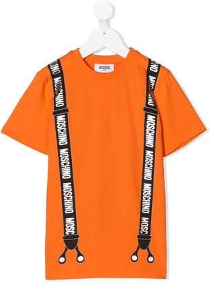 Moschino Kids TEEN suspenders print T-shirt